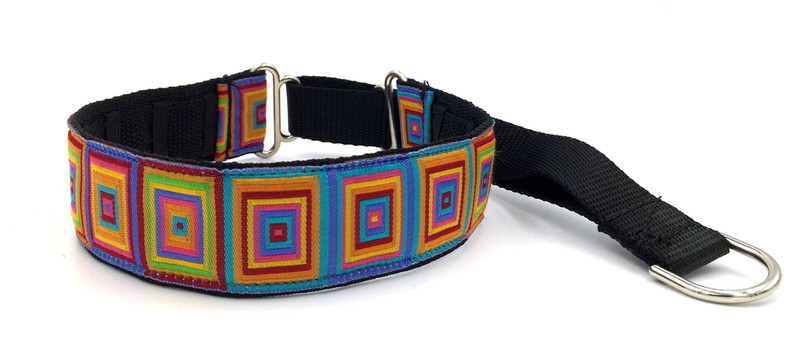 """1.5"""" Rainbow Squares Private Prong Collar"""