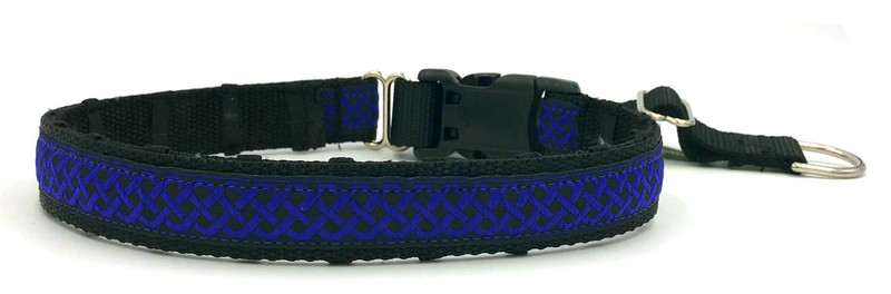 """1"""" Blue Celtic Knots Private Prong Collar"""