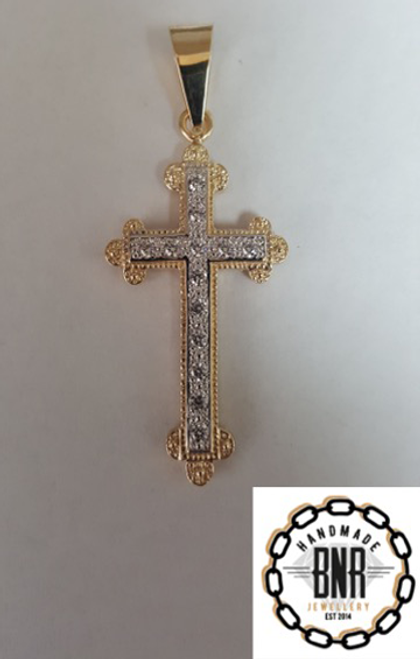 Solid 9ct gold stone set cross pendant  33mm x 51mm 11 grams