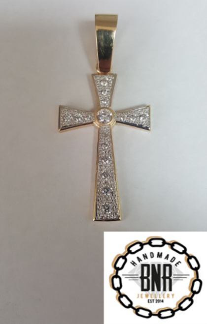 Solid 9ct gold stone set cross pendant 31mm x 55mm14 grams