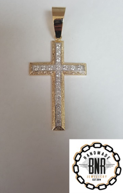 Solid 9ct gold stone set cross pendant 45mm x 66mm 27 grams