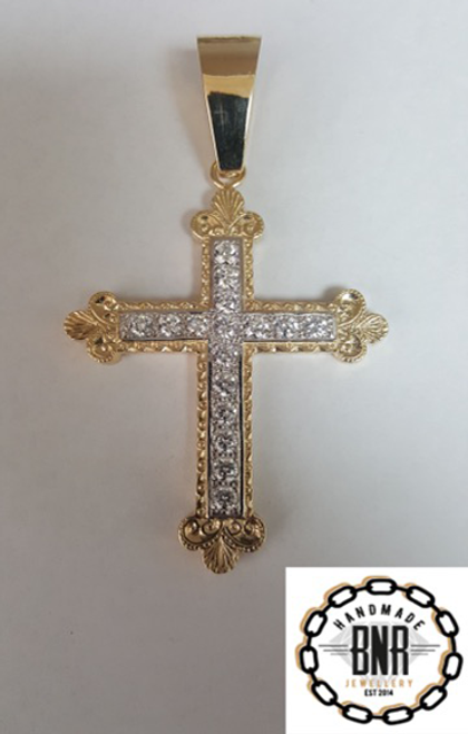 Solid 9ct gold stone set cross pendant 54mm x 66mm 31 grams