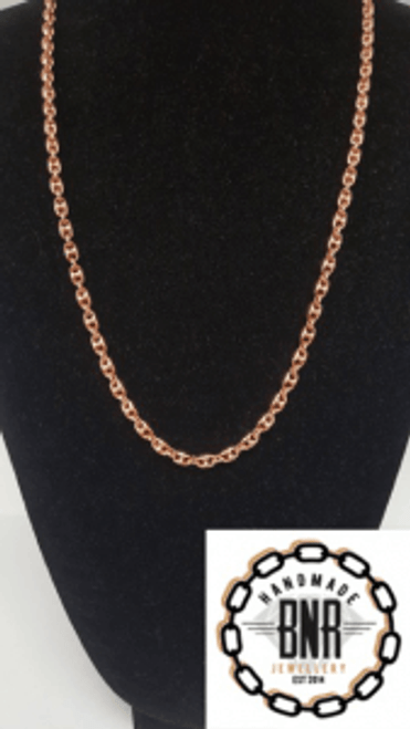 MENS COFFEE BEAN - ANCHOR LINK - 9ct red gold - 61 grams at 25 inches