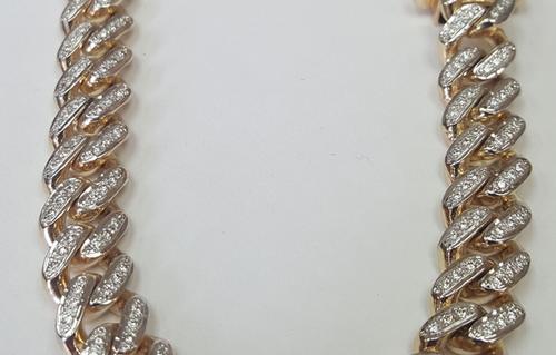 MENS HANDMADE DIAMOND SET CUBAN LINK CURB