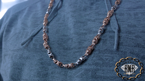 LARGE SCREW CHAIN NECKLACE - 3 colour 9ct gold