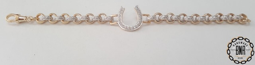 STONE SET DOUBLE BELCHER BRACELET WITH HORSE SHOE TAG - Solid 9ct gold