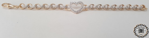 STONE SET DOUBLE BELCHER BRACELET WITH OPEN HEART TAG - Solid 9ct gold