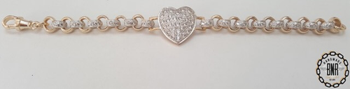 STONE SET DOUBLE BELCHER BRACELET WITH FULL HEART TAG - Solid 9ct gold