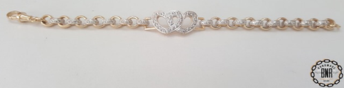 STONE SET DOUBLE BELCHER BRACELET WITH DOUBLE HEART TAG - Solid 9ct gold