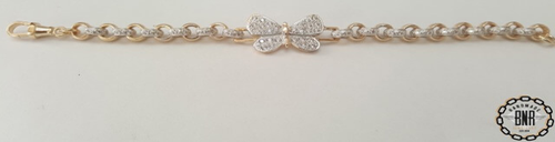STONE SET DOUBLE BELCHER BRACELET WITH BUTTERFLY TAG - Solid 9ct gold