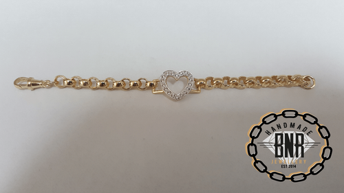 STONE SET HEART BELCHER BRACELETS - Solid 9ct gold