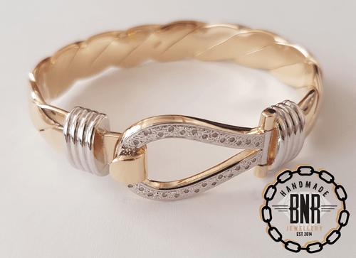 Mens 88 gram Single loop bangle, Set with real diamonds