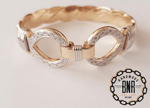 Mens 92 gram Double loop bangle, Set with real diamonds