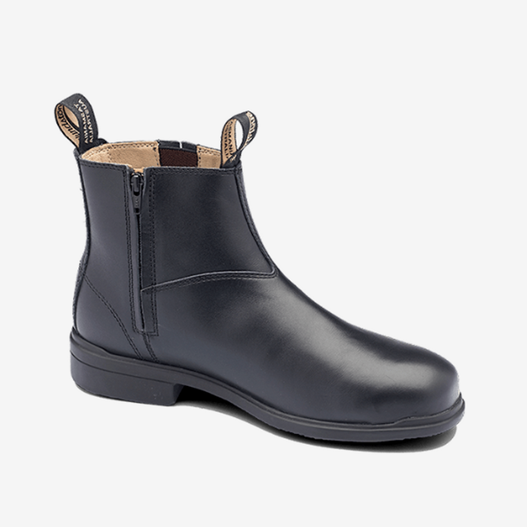783 - Black full grain leather zip side dress safety boot