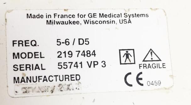 GE Ultrasound Transducers Probe  2197484, 5-6/D5.0 MHz,  618e,
