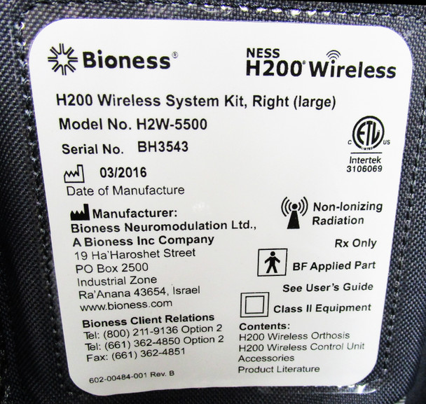Bioness H200 Wireless Right Hand Large - Complete