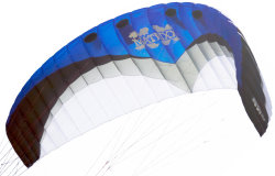 Example of a Ram Air or Foil kite for kiteboarding or land or snow kiting
