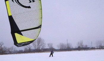 Snow Kiting at Harbor Island, Grand Haven