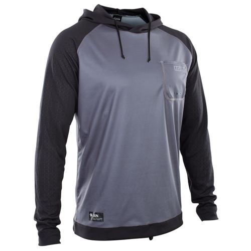 2021 Ion Wetshirt Hood LS - Steel Blue/Black