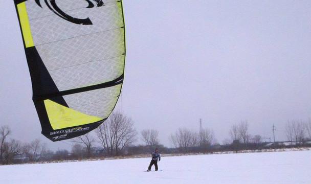 Snow Kiting at Harbor Island, Grand Haven