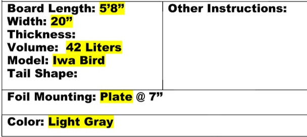 "Amundson Iwa Bird 5'8"" Foil Surfboard Grey Specs"