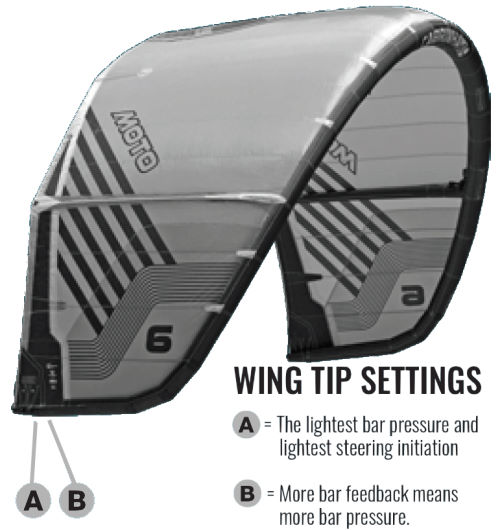 2020 Cabrinha Moto Kiteboarding Kite wingtip settings