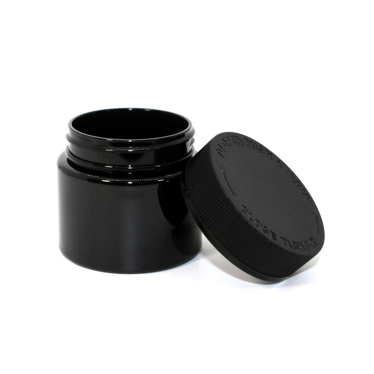 3oz Child Resistant Plastic Jars (Black - 512 ct)