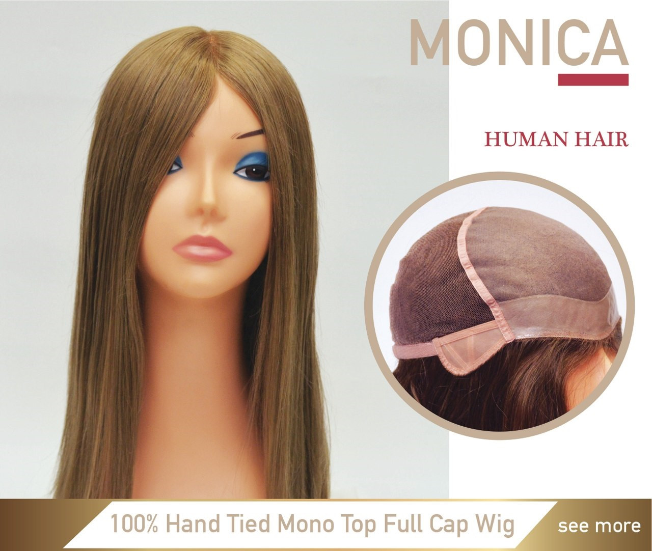 Mono silk top women s full cap wig for hair loss 29cad2a7fb