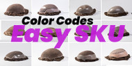 How to read hair replacement system color codes, SKUs