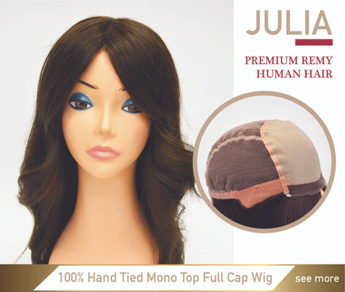 Julia Premium Human Hair Mono Top 100% Hand Made Full Cap Women Wig