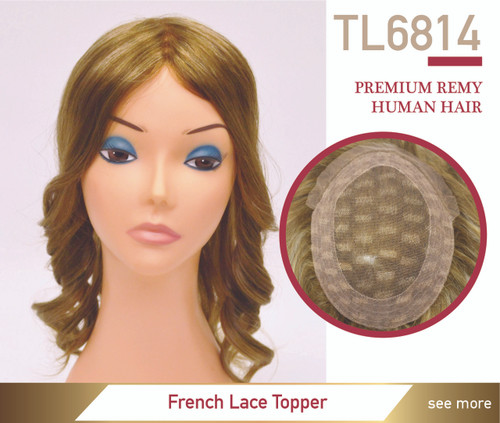 Premium Human Hair Top Lace 6814 French Lace Top Hairpiece
