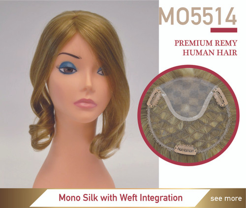 Human Hair Magic On 5514 Mono Silk Top Integration Lady's Top Hairpiece