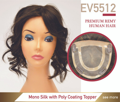 Premium Human Hair Ez Volume 5512 Mono Silk Top Cut Away Lady's Top Hairpiece