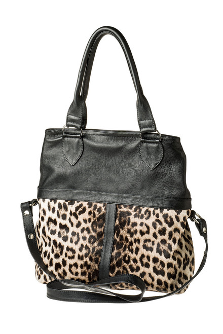 "Handmade leather shopper tote shoulder cross body bag ""Sami with Fur Shopper"""