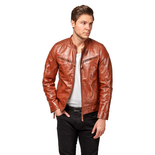 "Handmade Leather Jacket ""Adam"" front 3 Thumb"