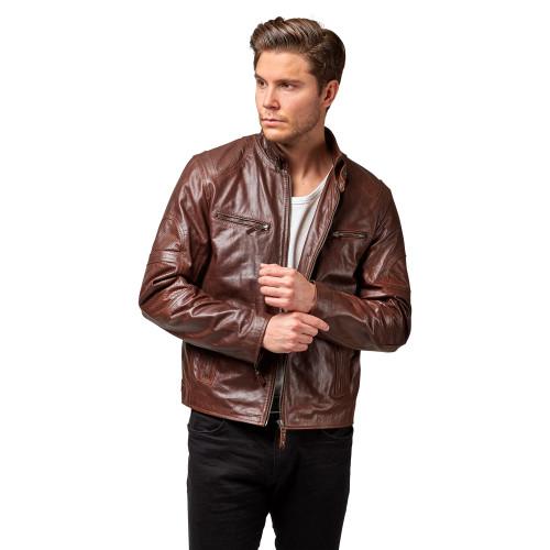 """Handmade Leather Jacket """"Washington""""  Front 2 Thumb"""