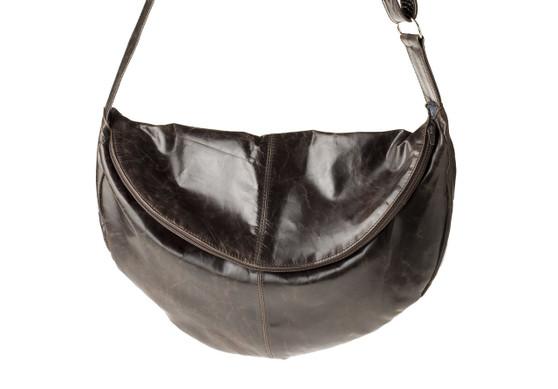 "Handmade leather cross body shoulder banana bag ""Bianca"""