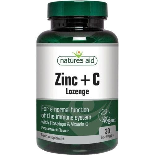 Natures Aid Zinc Lozenge Peppermint With Rosehip and Vitamin C