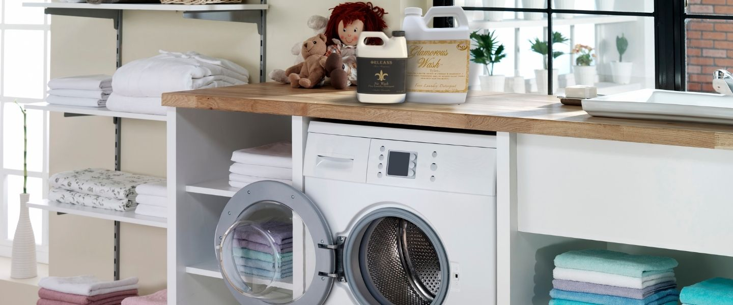 Laundry room with unique luxury laundry detergents