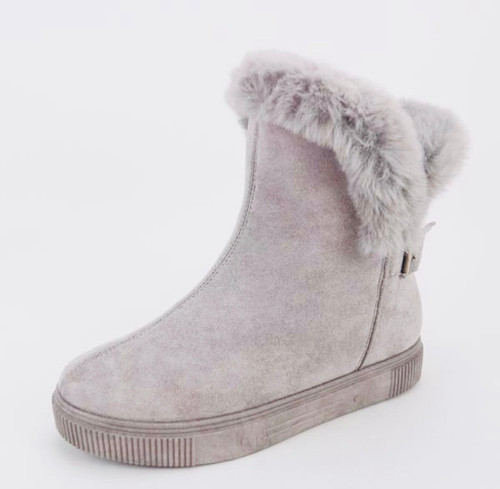 Snuggle Grey Faux Suede Boot