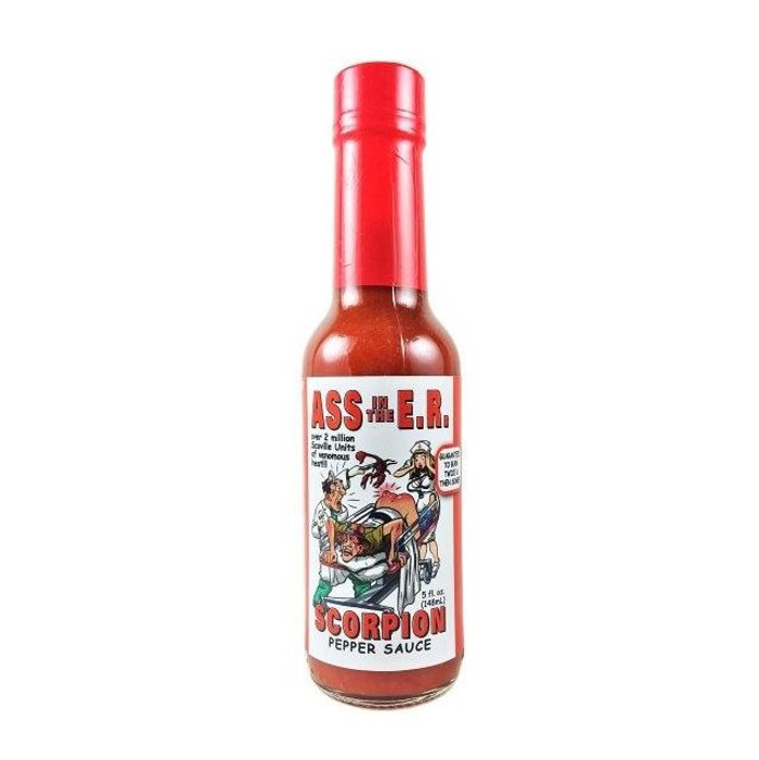 Ass in the E.R. Scorpion Pepper Sauce is available online at Pepper Explosion Hot Sauce Store