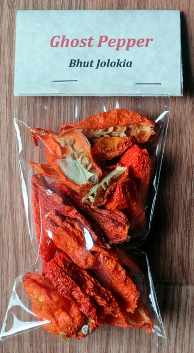 Dried Ghost Pepper (Bhut Jolokia) Pepper (0.25 oz)