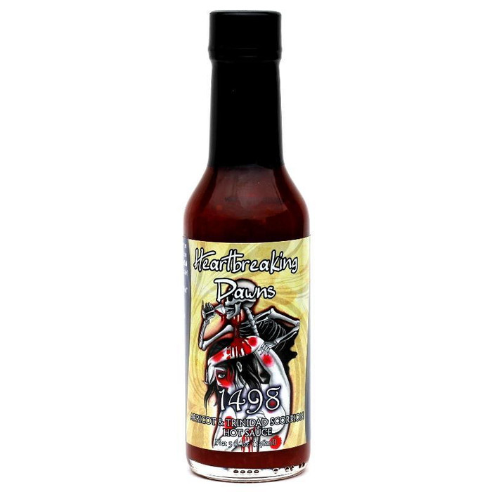 Heartbreaking Dawn's 1498 Trinidad Scorpion Hot Sauce available online at Pepper Explosion