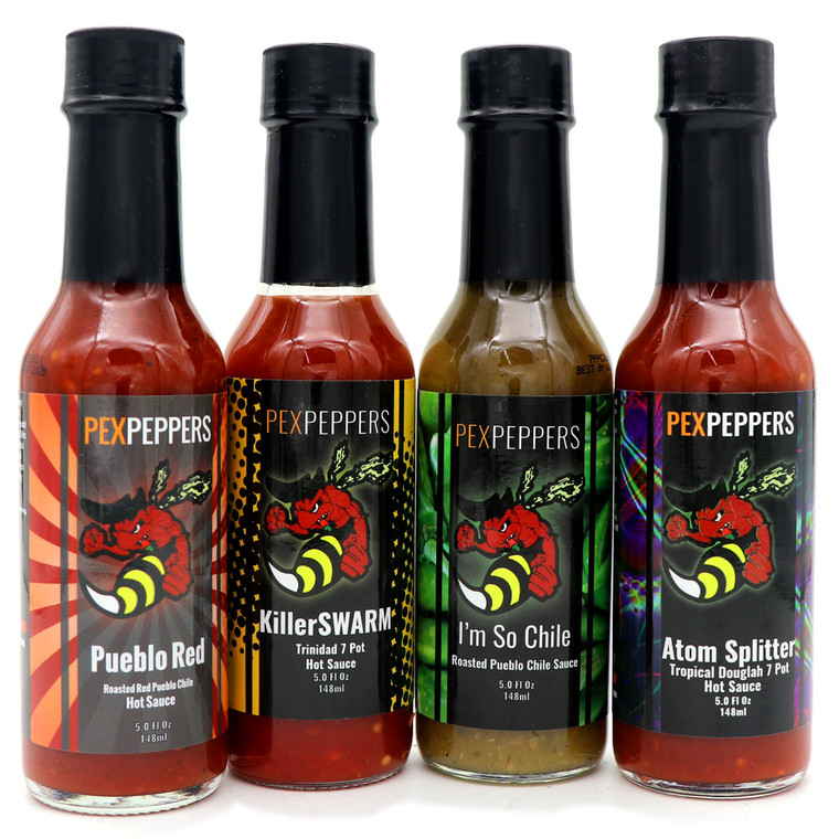 PexPeppers 4 Pack Hot Sauce