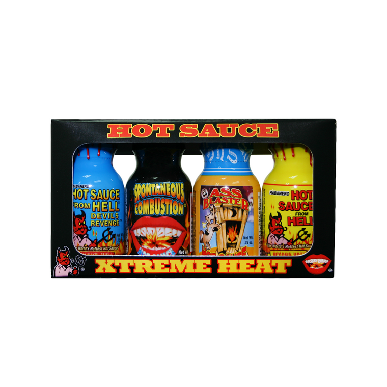 Xtreme Heat Mini 4-Pack . Contains: Habanero Hot Sauce From Hell, Ass Blaster Hot Sauce, Spontaneous Combustion, Devil's Revenge Hot Sauce From Hell