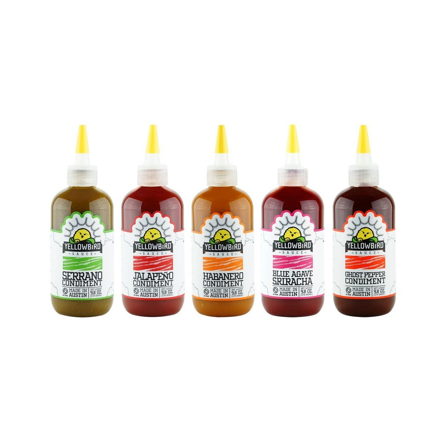 Yellowbird Hot Sauce Combo - Habanero, Serrano, Ghost, Jalapeno and Sriracha