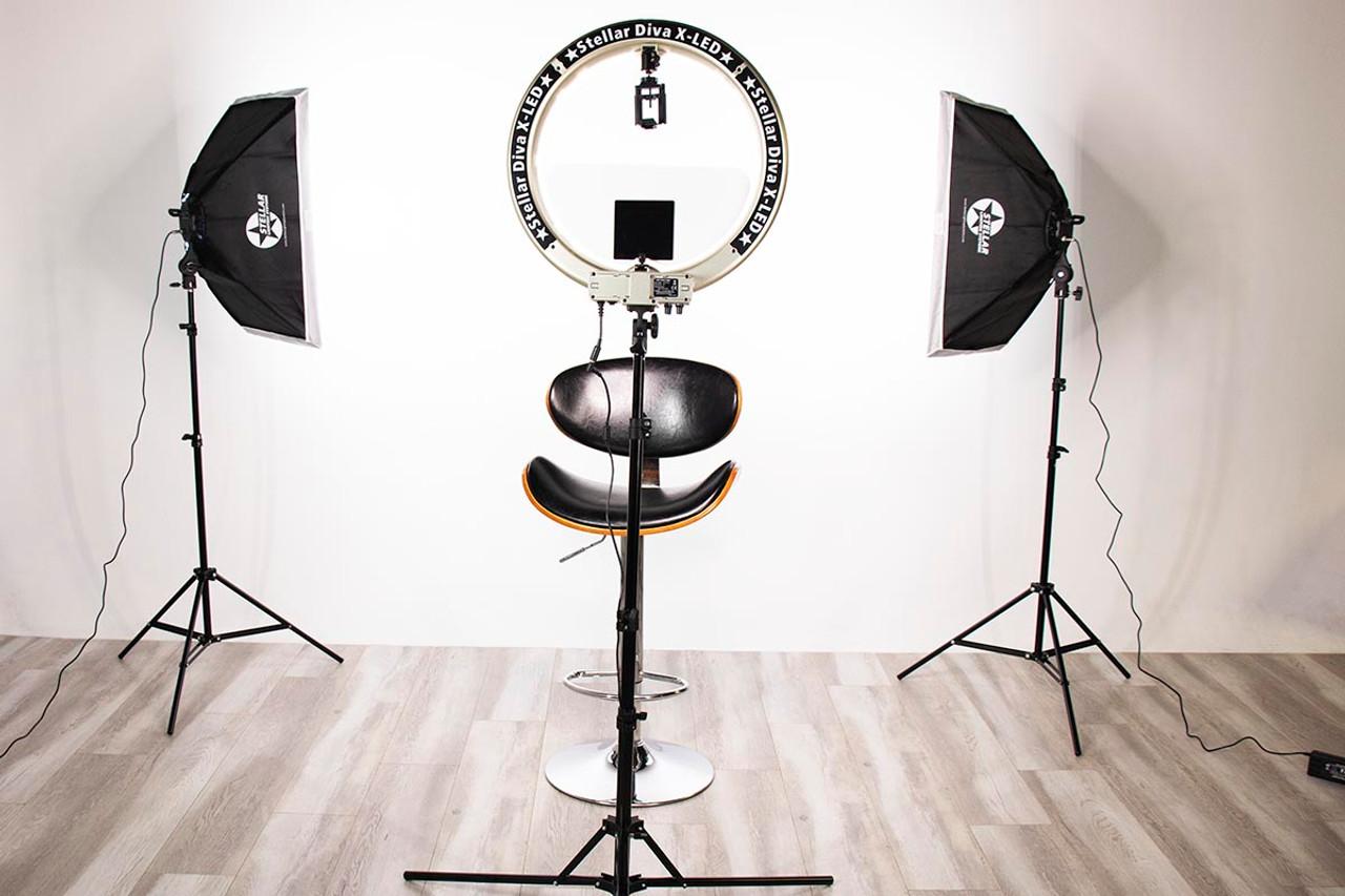 Stellar Gemini Photo/Video Kit + Stellar X- LED  Diva Ring Light 18 Inch