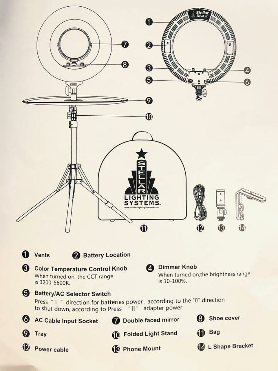 The New Stellar Diva ll Pro Ring Light + Photo  Stand and Tray+HOLIDAY GIFT
