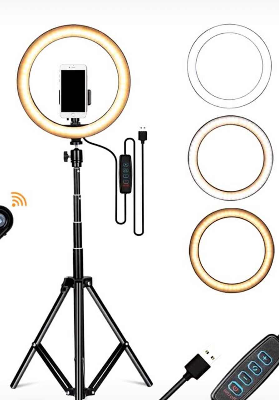 "Stellar Office Star Streaming   Diva 10"" Beauty  Ring Light w/ Dimmer + Ajustable  Stand"