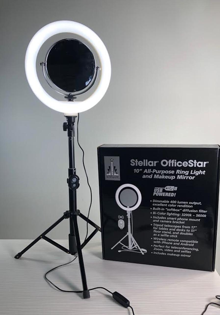 "Stellar Office Star Streaming   Diva 10"" Beauty  Ring Light w/ Dimmer + Ajustable  Stand"